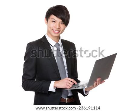 Businessman use laptop - stock photo