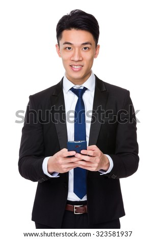 Businessman use of the cellphone