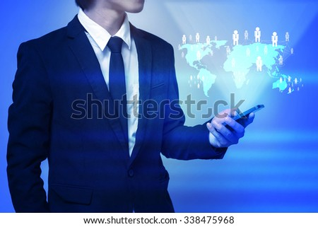 businessman use smart phone  with social network as concept