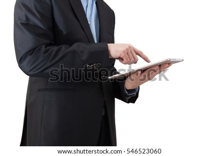 businessman use tablet in his hand on white backgrounds, isolated