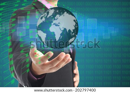 Businessman used hand for cover Digital business intenet. - stock photo