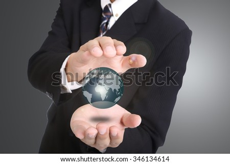 Businessman used hand for cover Social network cycle button.