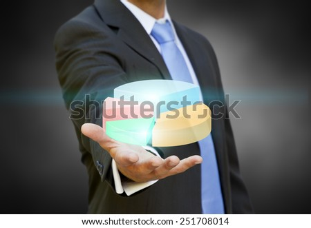 Businessman using a digital chart during a meeting