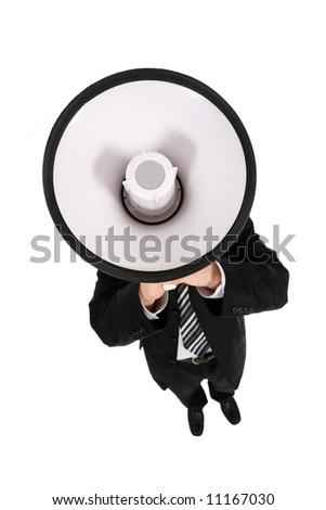 Businessman Using a Megaphone - stock photo