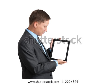 businessman using a tablet pc with blank screen - stock photo