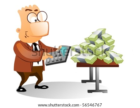Businessman using calculator to count the money.