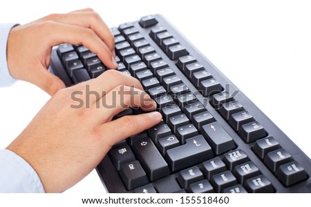 businessman using computer on a white background - stock photo
