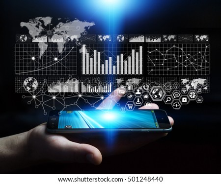 Businessman using digital graph interface with his mobile phone 3D rendering