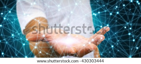Businessman using digital network with lines and circles