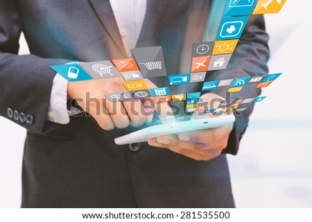 Businessman using digital tablet,social media concept. - stock photo