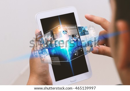 Businessman using digital tablet,social media concept.