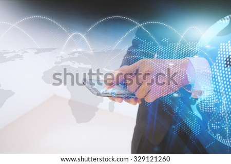 Businessman using digital tablet, social network concept.  - stock photo