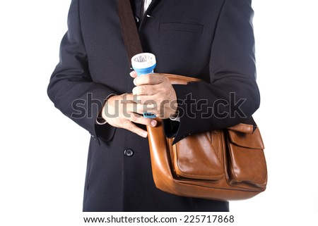 businessman using flashlight Isolated on white background - stock photo