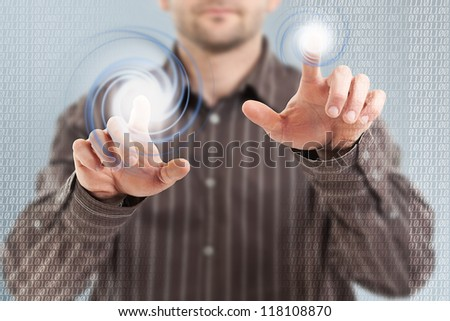 Businessman using futuristic interface, digital concept