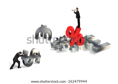 Businessman using megaphone yelling at man pushing 3d metal currency symbol with red percentage sign isolated on white background - stock photo
