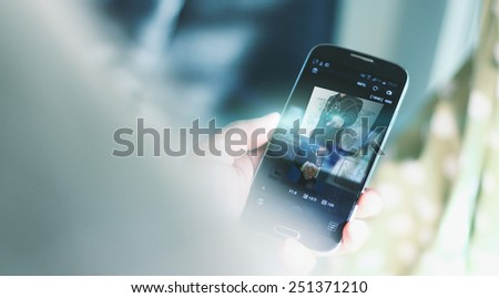 Businessman using mobile smart phone. - stock photo