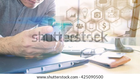 Businessman using mobile smart phone.Social media concept. - stock photo