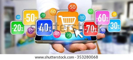 Businessman using modern application to shop online during sales - stock photo