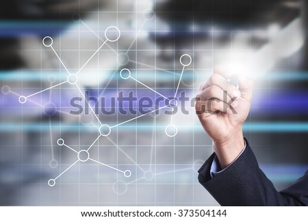 businessman using modern computer, drawing on virtual screen. internet and networking concept.business concept.