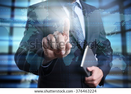 Businessman using modern computer, pressing button on virtual screen. Business strategy. business, technology and internet concept. - stock photo