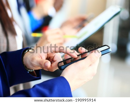Businessman using modern smartphone or mobile phone. New technologies for success workflow concept.  - stock photo