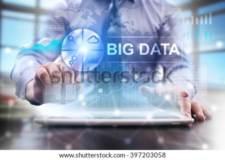businessman using modern tablet computer. big data concept. business technology and internet concept. - stock photo