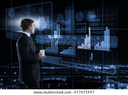Businessman using modern technologies