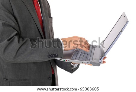 Businessman using notebook computer. All on white background. - stock photo