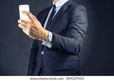 Businessman Using Smartphone .Lifestyle technology concept