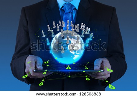 businessman using tablet computer shows social network concept - stock photo