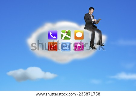 businessman using tablet on app icons cloud with nature blue sky background - stock photo