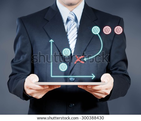Businessman using tablet showing strategy, business decision concept - stock photo
