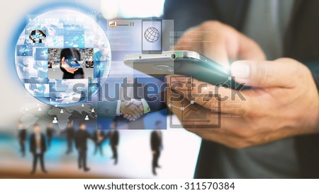 Businessman using tablet.virtual screen.business concept