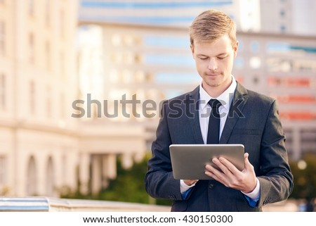Businessman using technology on the go