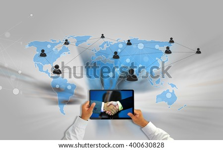Businessman using the new media technologies and devices connect Social media.