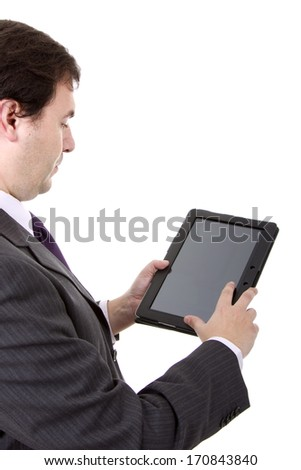 businessman using touch pad, close up shot, isolated - stock photo