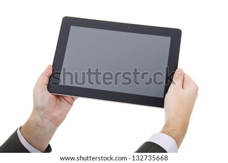 businessman using touch pad, close up shot on tablet pc, isolated, focus on the right hand