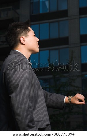 Businessman waiting - stock photo