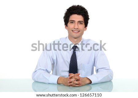 Businessman waiting for his interview - stock photo