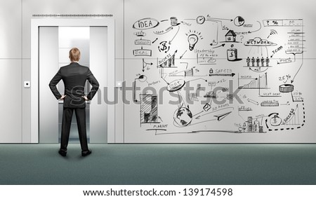 businessman waiting for the lift near the wall with drawing business strategy - stock photo