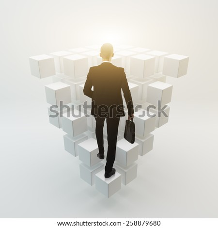 Businessman walk to the future concept - stock photo