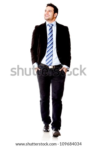 Businessman walking - isolated over a white background - stock photo