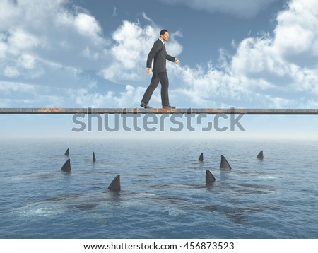 Businessman walking on a board over the ocean with great white sharks Computer generated 3D illustration