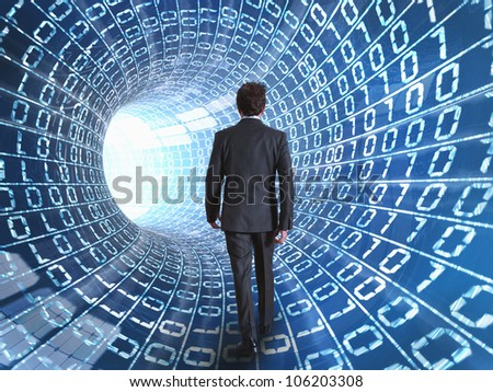 Businessman walking on a cable network - stock photo