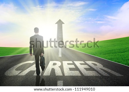 Businessman walking on a great career path