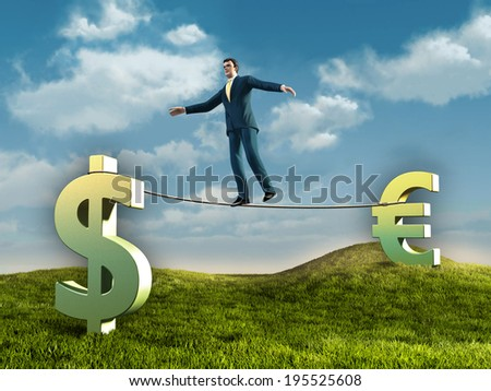 Businessman walking on a rope connecting some currencies symbols. Digital illustration. - stock photo