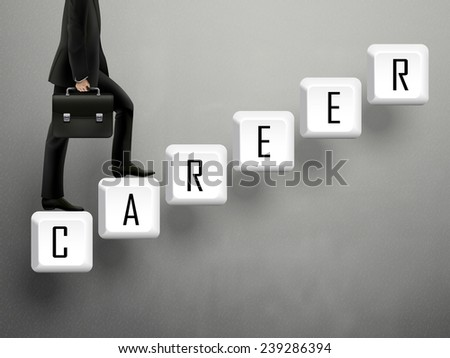 businessman walking on career keyboard stairs over grey - stock photo