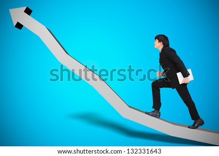 Businessman walking on chart, Conceptual image of business progress or growth