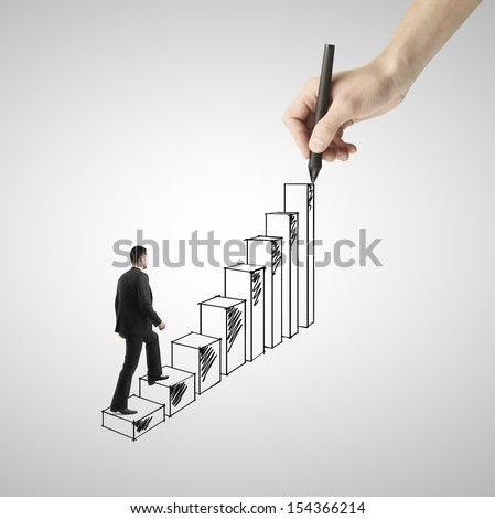 businessman walking on drawing ladder - stock photo