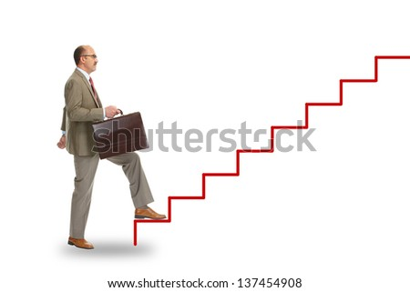 Businessman walking on drawing stairs, isolated over a white background